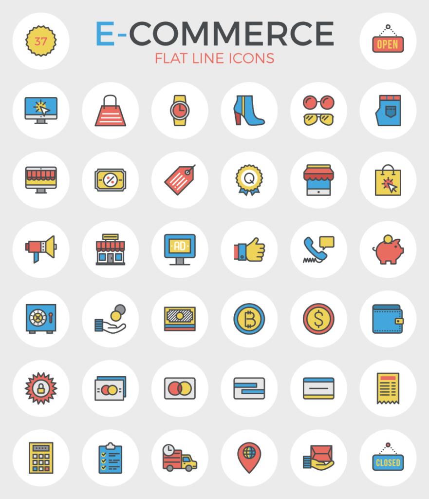 Free Ecommerce Flat Line Icons