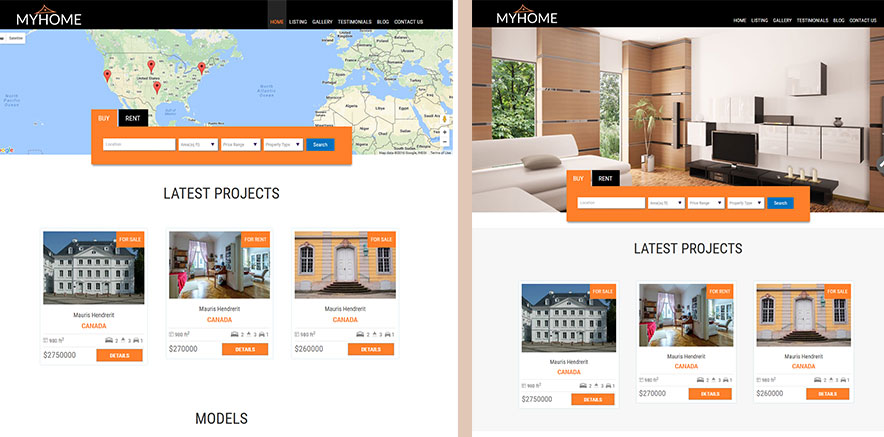 Home Templates for Real Estate WordPress Theme