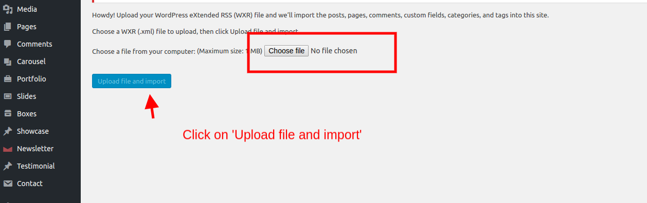 Upload file and import