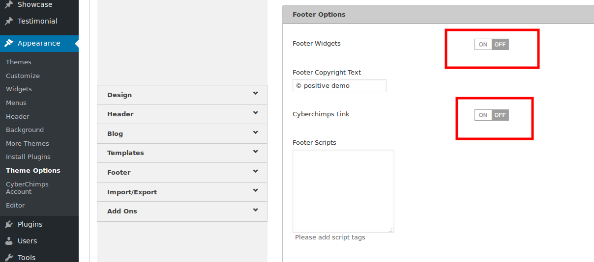 Footer widget setting