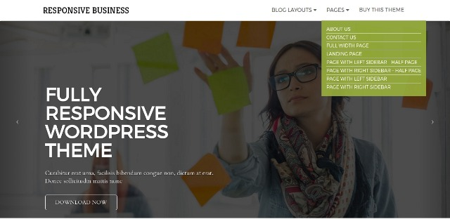 Business WordPress theme with Page layouts