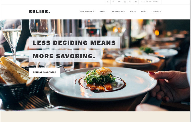 Belise Restaurant WordPress Theme