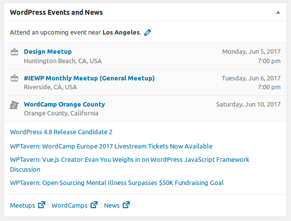 WordPress 4.8 Events and Dashboard widget
