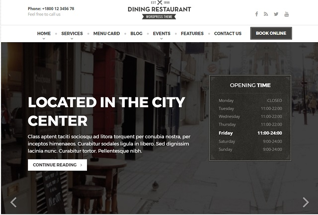 Dining Restaurant WP Theme