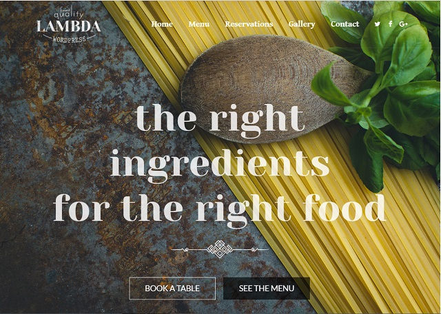 lambda Restaurant WordPress Theme