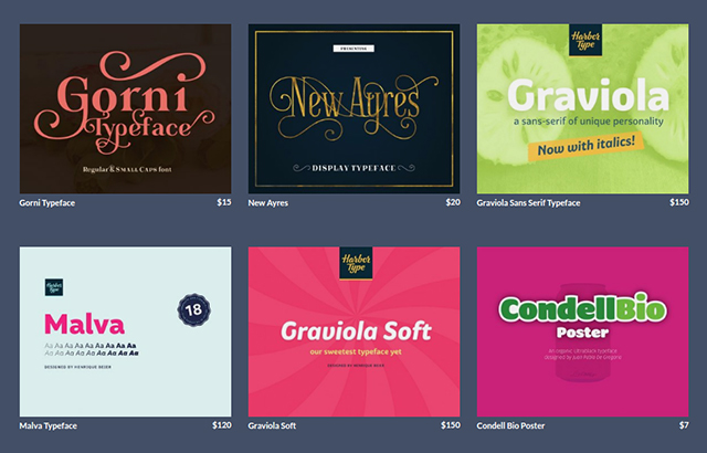 graphic design marketplace - font section