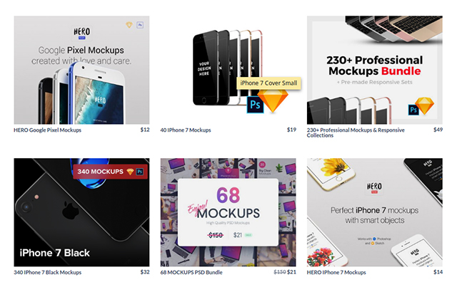graphic design marketplace - mockup section