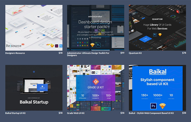graphic design marketplace - UI section
