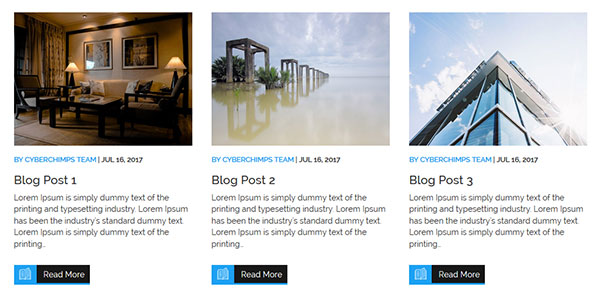 3-column Blog posts Layout in WP Theme