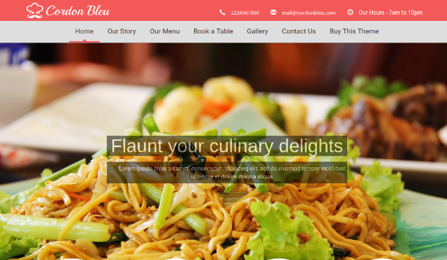 Cordon Bleu Food WordPress Theme