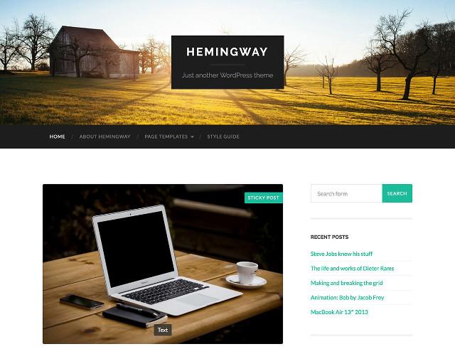 Hemingway Free Parallax WordPress Theme