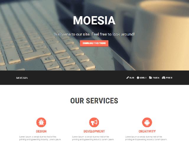 Moesia Free Parallax WordPress theme