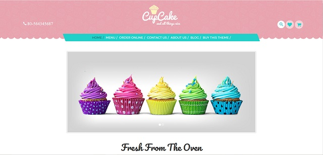 CupCake WordPress Theme with slider