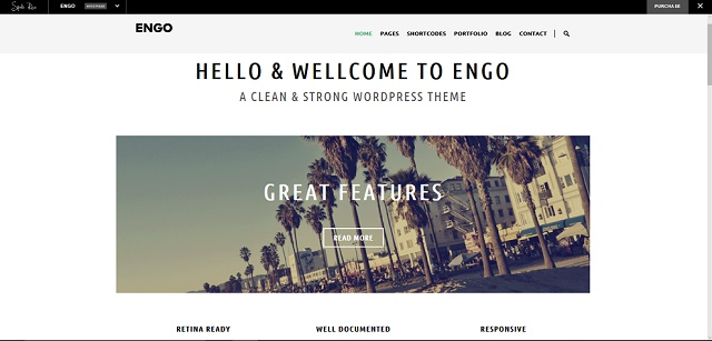 Engo WordPress theme with slider