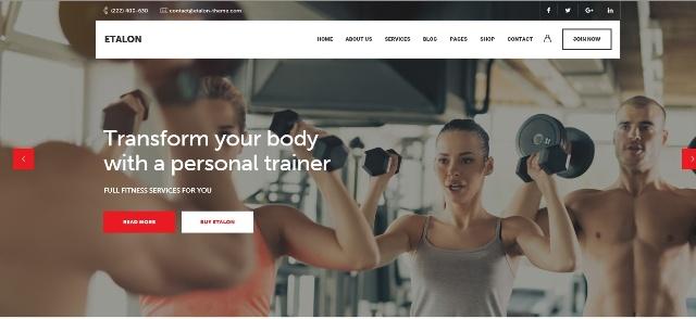 Etalon multipurpose WordPress fitness theme