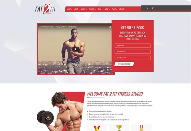 Fat to Fit interactive WordPress fitness theme