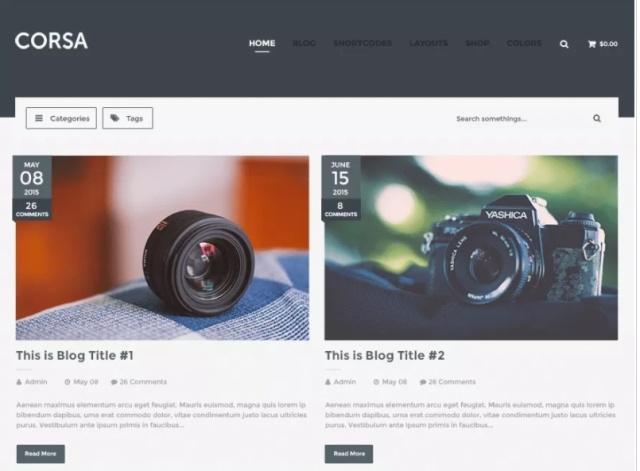 Advanced layout one page WordPress theme