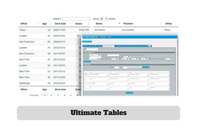 Ultimate Tables Free Plugin