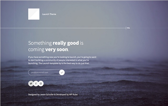 The minimalist coming soon WordPress theme