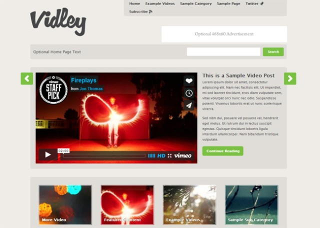 video WordPress theme with premium customization features