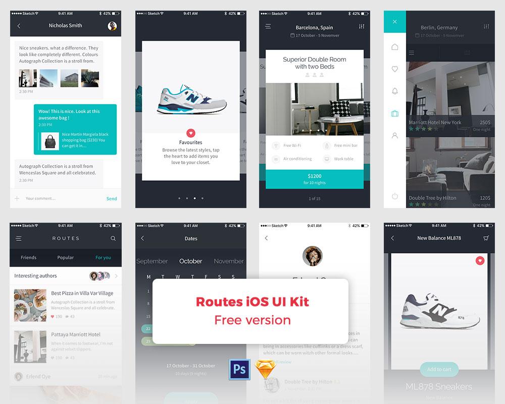 Routes Free UI Kit