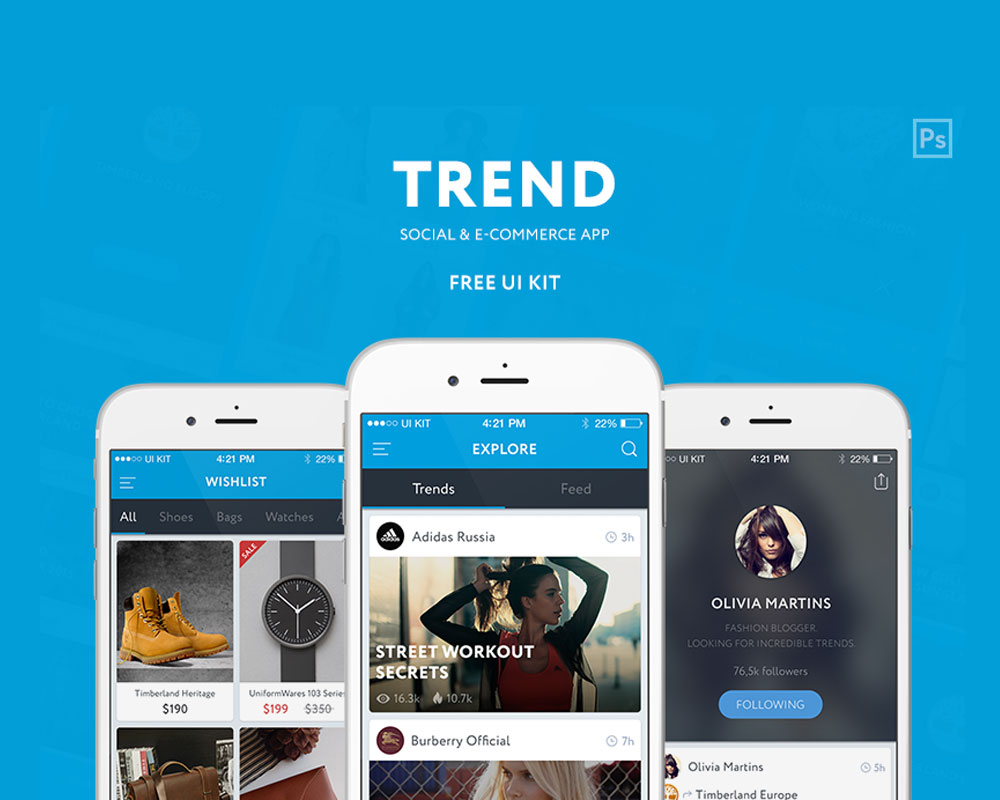 Trend Social E-commerce Free UI Kit