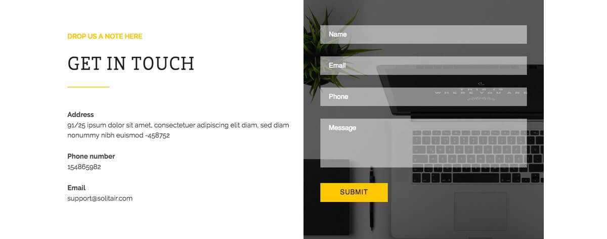 Solitair WordPress theme with Contact Form 7 support