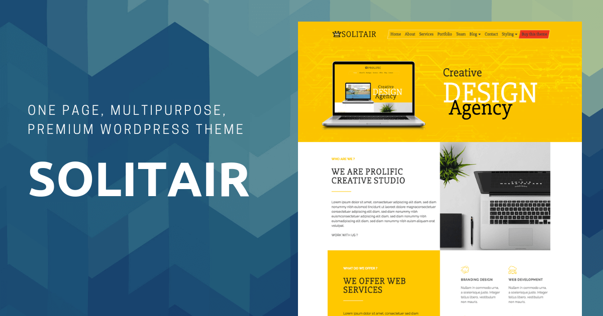 solitair - one page, multipurpose, premium WordPress theme