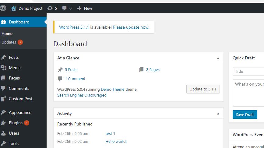 Method1-Update WordPress
