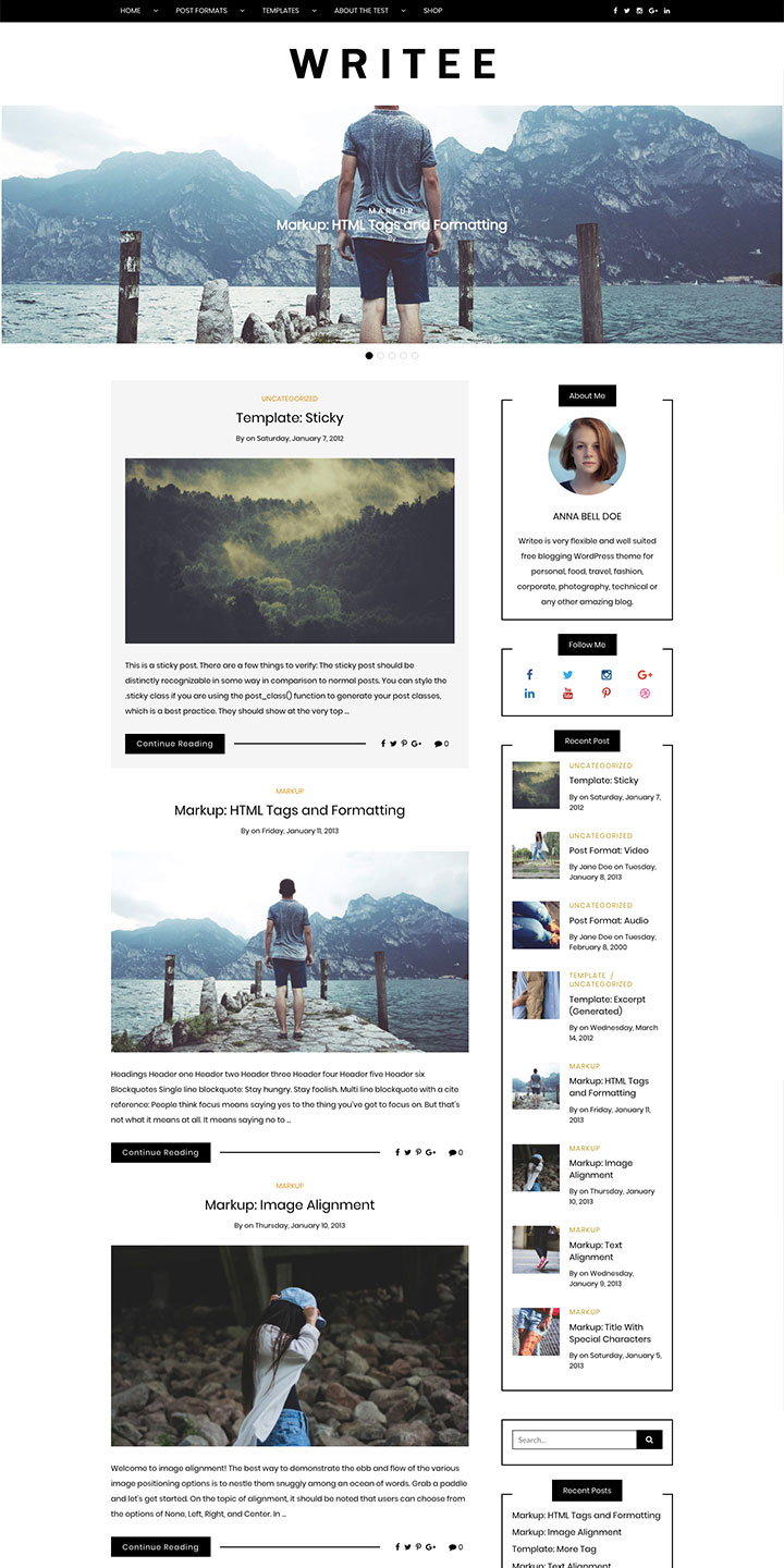 Free blogging WordPress theme