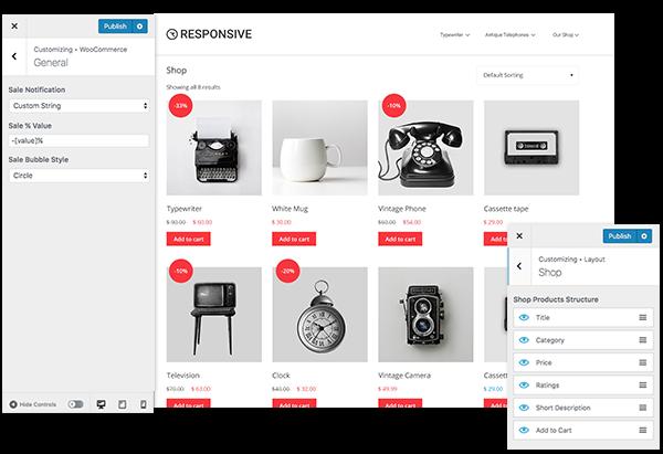 Responsive WP theme- WooCommerce Customizing options