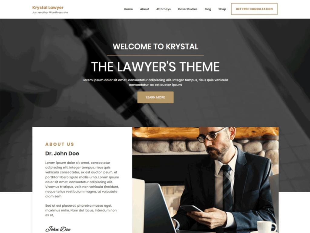 Krystal Lawyer- best free WordPress themes for business
