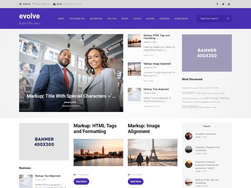 Evolve-Free WordPress Multi Purpose theme