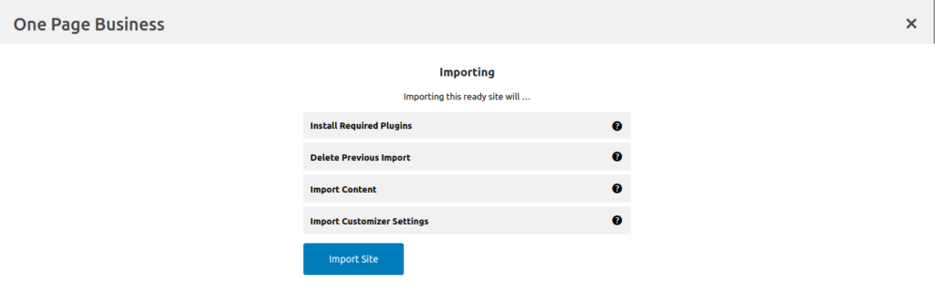 One page business plugin importing screen