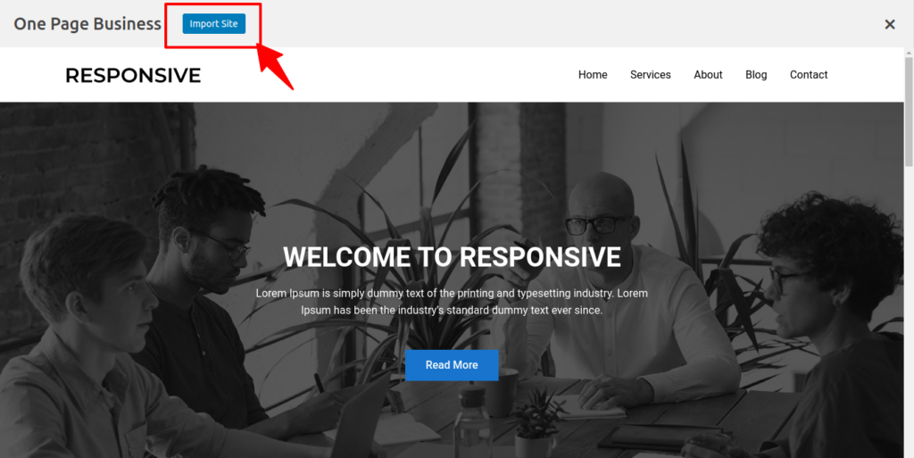 One page business: import site screenshot