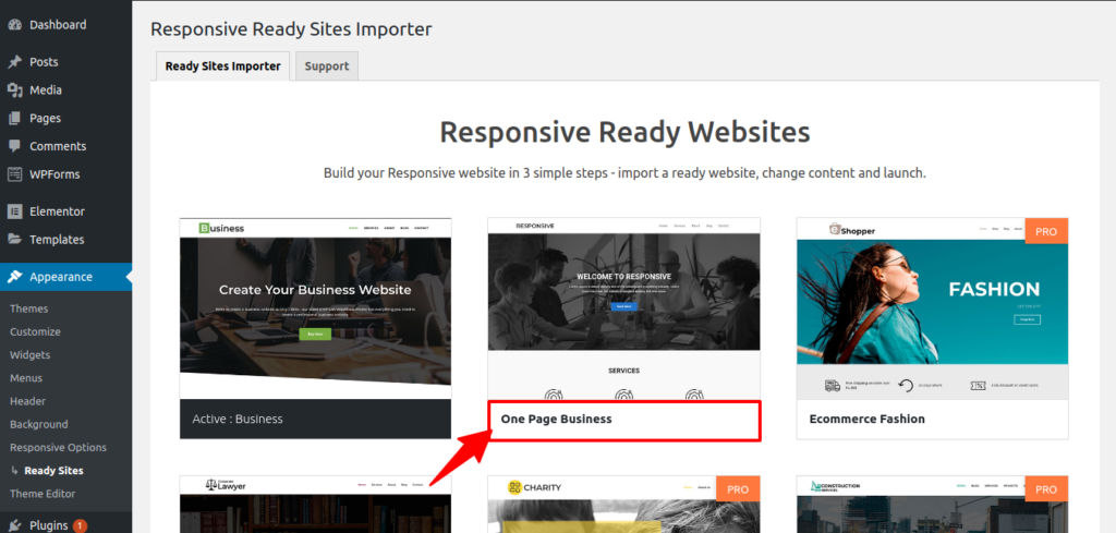 One Page Business website import screenshot
