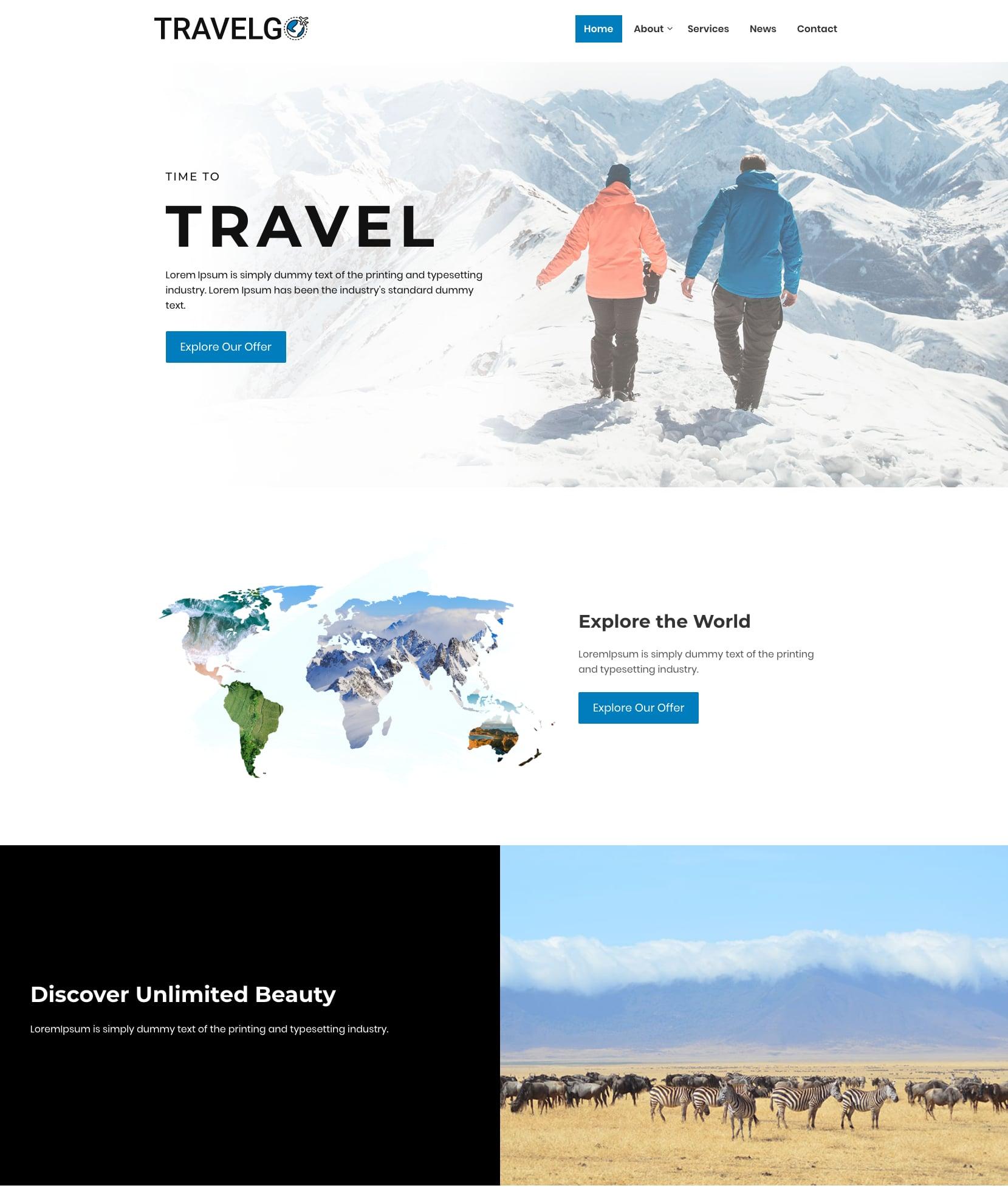 Premium travel agency WordPress theme