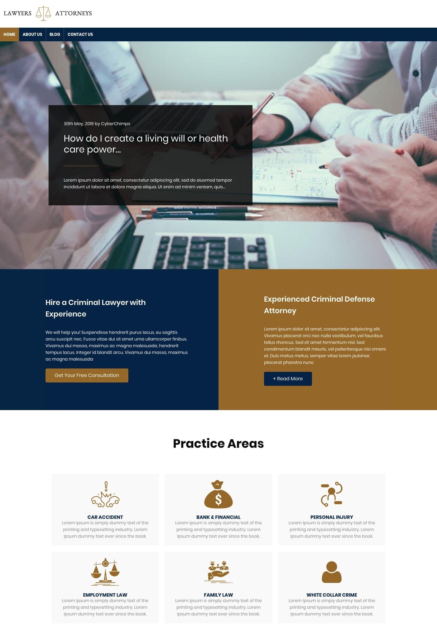 free Lawyer WordPress theme