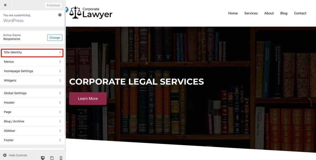 Lawyer website- site indentity