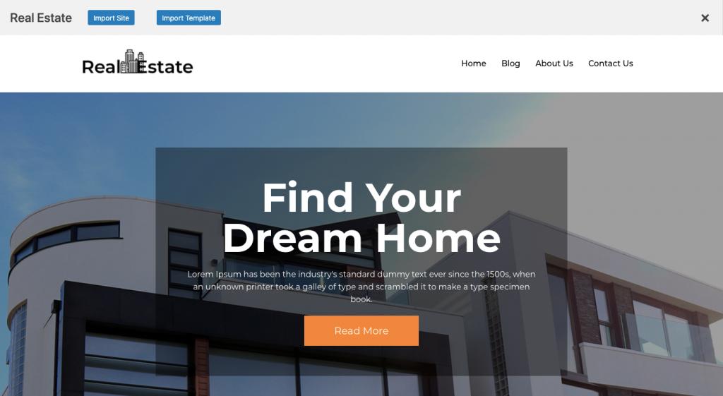 Import Site wordpress real estate business