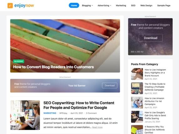 EnjoyNow- Adsense optimized WordPress theme