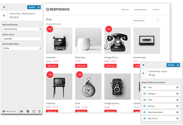Responsive WooCommerce customization options