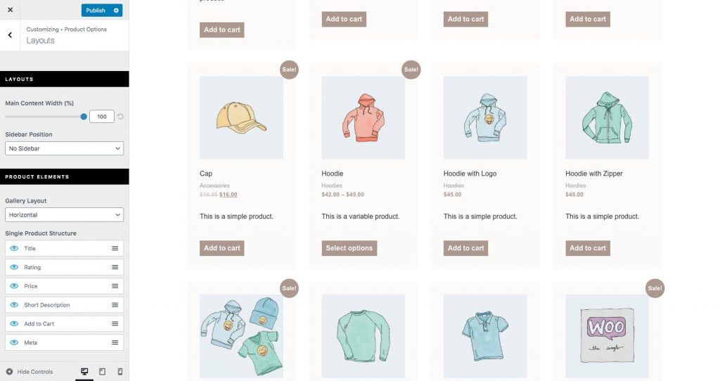 Customize WooCommerce products