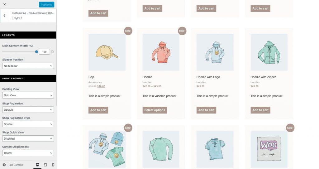 Choose WooCommerce product catalog layout
