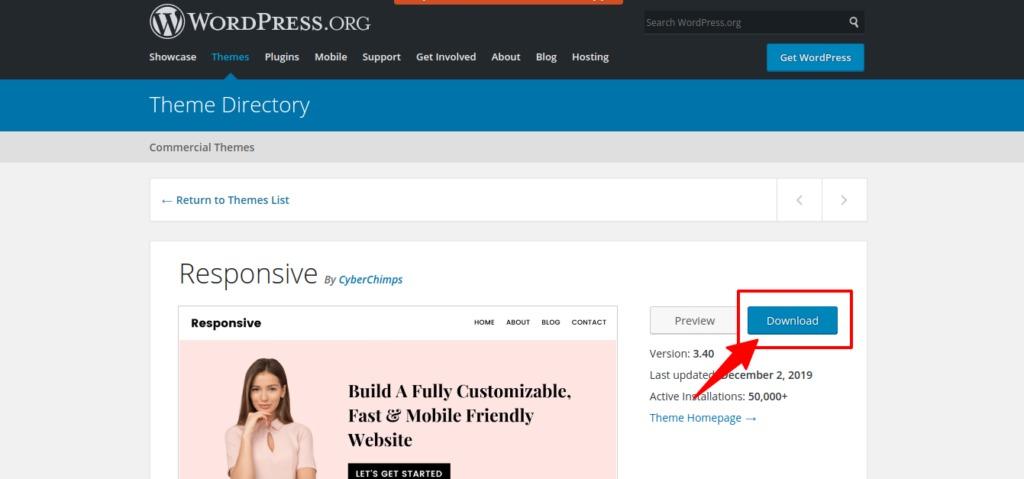 Download Responsive theme- WordPress.org