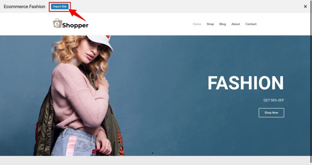 Import Ready site template
